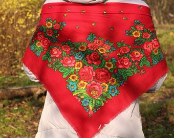 Russian floral scarf Ukraine scarves Wool scarf Red Shawl wool Vintage floral shawl Wool floral scarf Red kerchief Gift for her scarf