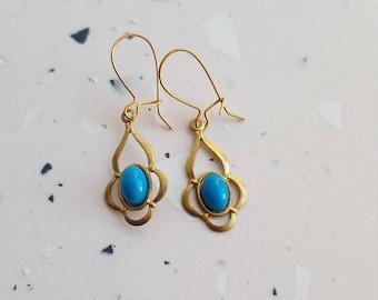 Brass drop turquoise cabochon earrings