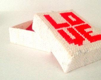 retro love trinket box; red white plastic canvas cross stitch; yesteryears vintage valentines anniversary jewelry box gift idea