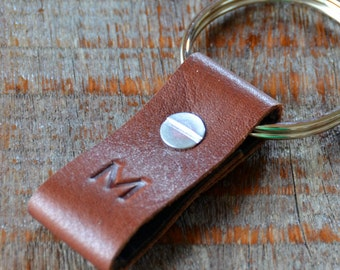 Monogrammed Saddle and Dark Brown Leather Keychain - Short & Wide Style