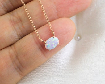 Tiny Opal Stone Rose Gold Necklace, Opal Stone Necklace, Rose Gold  Necklace,Bridesmaid Gif,Birthday Gift, Dainty Necklace - 6065