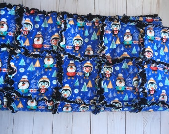 Penguin rag quilt, baby quilt, adult lap quilt, winter blanket, lap quilt, baby rag quilt, baby shower gift, baby gift, birthday gift