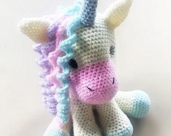 Cute, Cuddly Crochet Unicorn - Cream and Pastel