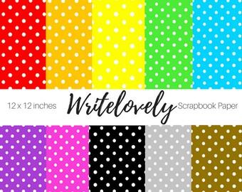 Digital Scrapbook Paper - Dot Paper - Geometric Paper -  Digital Paper - Rainbow Scrapbook Paper - Commercial Use