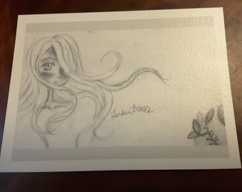 Wind in Her Hair - unframed art print of a drawing