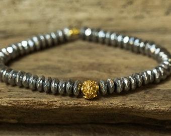 Hematite Bracelet, Gold Bracelet, Stack Bracelet, Boho Bracelet, Stretch Bracelet, Simple Bracelet, Layering Bracelet, Stretchy Bracelet
