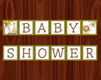 Dschungel Baby Dusche Banner druckbare digitale Datei