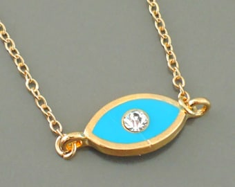 Gold Necklace - Evil Eye Necklace - Layered Necklace - Crystal Necklace - Turquoise Blue Necklace - handmade jewelry