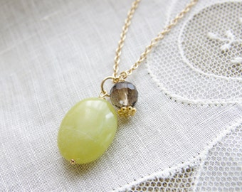 Jade Pendant Smoky Quartz Gemstone Natural Stone 14kt Gold Filled Green Brown Bridesmaid Necklace Delicate Wedding Jewelry