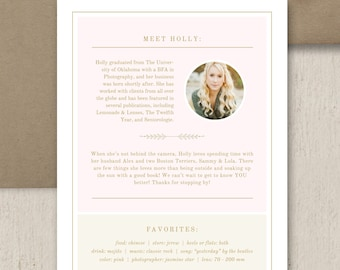 About Me Page Template for Photographers & Websites - Digital Photoshop Files - Photography Marketing Templates - Premade Branding Designs