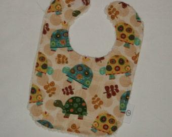 Turtle Fabric and Chenille Boutique Bib - SALE