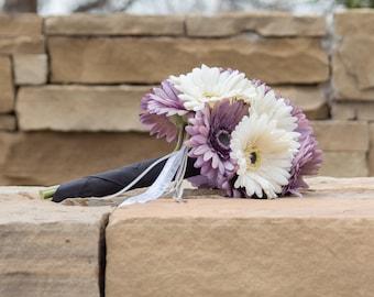 Mauve and cream gerbera daisy bouquet, fabric