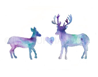 Deer Love Watercolor Print, Print of Deer, Deer Watercolor Painting, Animal Painting, Love Painting, Deer Painting, Wedding Gift