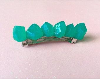 MADE TO ORDER crystal gems indie hair barrette. geode clip.