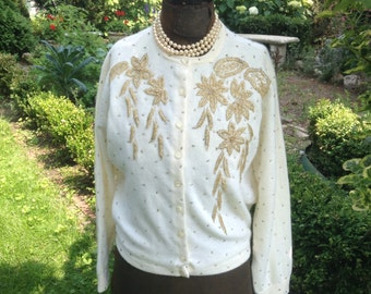 1950s Beaded Sweater / Vintage Beaded Sweater / Vintage Cardigan Sweater