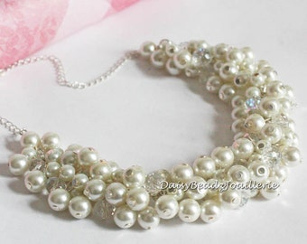 Ivory Pearl Cluster Necklace Ivory Necklace Bridal Necklace Ivory Pearl Necklace Ivory Chunky Necklace Earrings Ivory Necklace Set