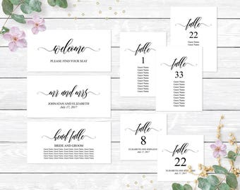 Printable wedding seating chart cards template, Editable PDF template, Seating cards template, Table cards, Wedding seating arrangement plan