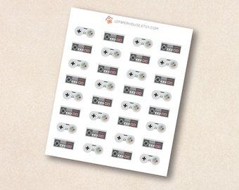Classic game controller stickers, 32 x matte or glossy planner stickers, life planner stickers, erin condren filofax, mambi happy planner