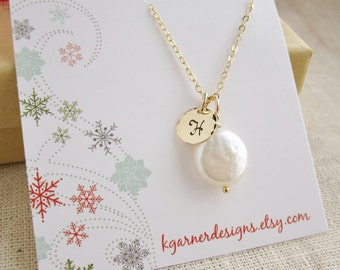 Personalized coin pearl necklace with gift box, custom gold initial necklace, freshwater coin pearl monogram necklace, Christmas gift wrap