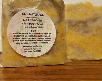 Soft Serentity Natural Handmade Soap * Made with Goat's Milk