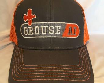 "Grouse Commander Embroidered ""GrouseAF"" Charcoal / Blaze Orange Hat"