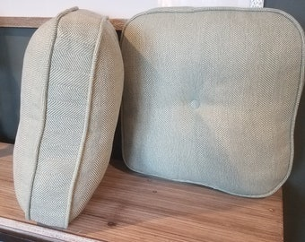 Sturdy Rounded-edge Pillow with Piping and Center Button for the person who likes their throw pillows to last!