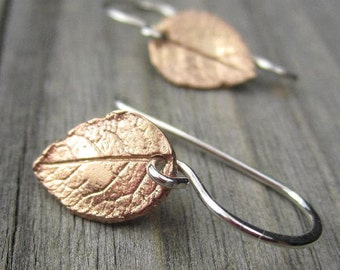 Tiny Rose Gold Leaf Earrings Petite Botanical Mixed Metal Dangle with Leverback or Wires