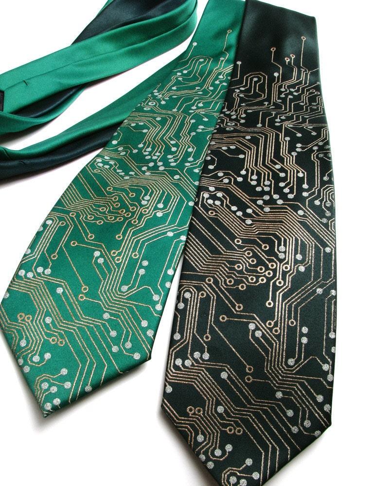 Circuit Board Tie - SILK Tie - Geek Gift - Silk Necktie - Men's Necktie - Computer Programmer - Cool