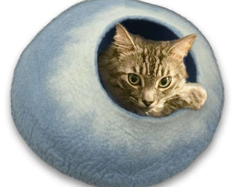 Cat Cave Bed Large by Walking Palm - FREE SHIP - Sky Blue and White - ships now from usa / Cat Bed / Pet Bed / Hand Felted Wool