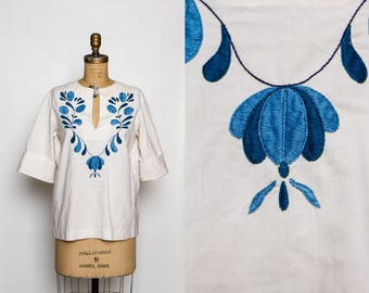 vintage 70s embroidered blouse | 1970s women's hippie boho top