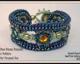 Deco Drama Herringbone Ndebele Bracelet Pattern Tutorial Instructions by Hannah Rosner - intermediate level beading design