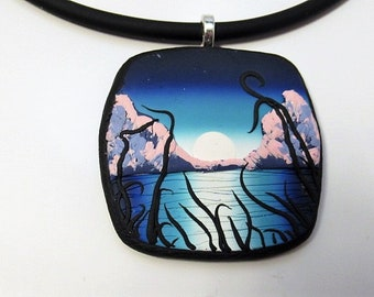 Necklace, Pendant, Sunset, Blue, Gift for Her, Landscape