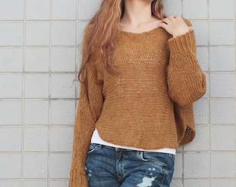 Hand knit woman sweater pullover top cropped sweater mustard yellow wool sweater