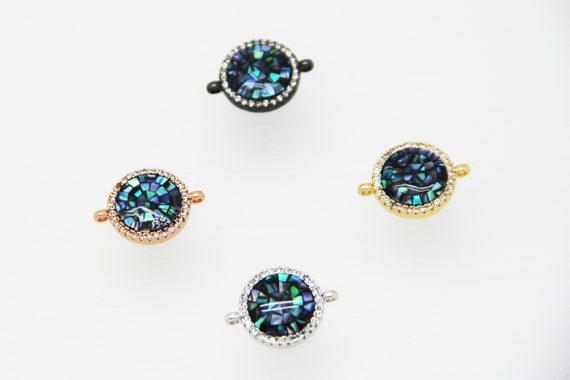 Abalone Mosaic With CZ Micro Pave 14mm Coin Connectors