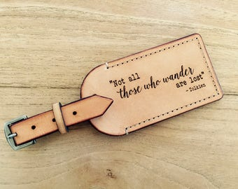 Australian Leather luggage Tag - Tolkien