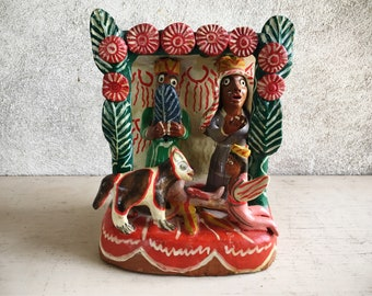 Mexican Pottery Folk Art Baby Jesus Nativity Scene, Mexican Decor, Catholic Gifts