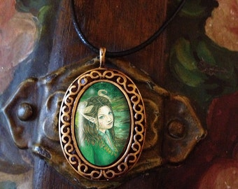 Porcelain Cameo Style Pendant, Lady of the Forest,  and Free Cord