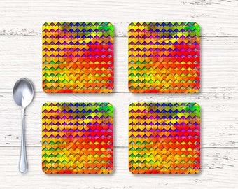 Hearts coaster, Cork Back Coaster, Art coaster, Set of coasters, Bar Accessories, Square coaster, Beverage Coasters, Hostess gift, CRdp001-1