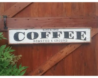 Country Farmhouse Style Hand Painted COFFEE Sign Reclaimed Wood Framed Sign