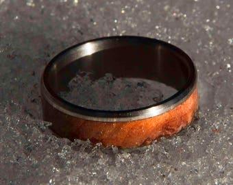 Titanium Wedding Band - Redwood Burl Inlay