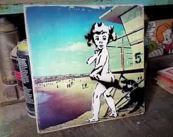 Coppertone Baby Mixed Media Graffiti Art Painting on Photo Transfer Original Art on Handmade Canvas Home Decor Pop Art Gallery Beach Summer