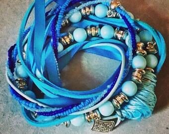 Blue beaded boho bracelet