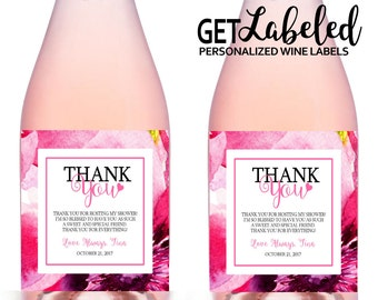 Hostess Thank You Champagne Labels, 5x3 inch, Printable Baby Shower Hostess Thank You Gift, Hostess Thank You Gift, Shower Hostess Gift