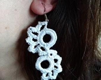 White Earrings, Crochet Jewelry, Knitted Earrings, Girlfriend Gift, Party Earrings, Bridesmaid Earrings, Lace Earrings, Summer Earrings