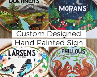 Anniversary Gift for Wife, Family Name Sign Wood, Wooden Anniversary, Gift for Dad, Personalized Hand Painted Sign, Custom Wedding Gift Sign