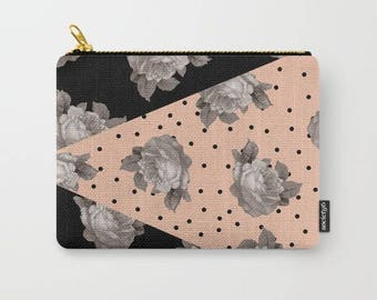 carry all pouch-gray roses-geometric-modern floral-dots-pink and black-pretty purse organizer-coin purse-make up bag-gift for teen girls