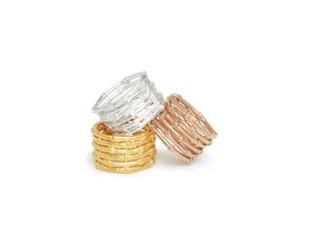 BAMBOO Stacked Gold Ring | Stacked ring | Stackable ring | Midi ring