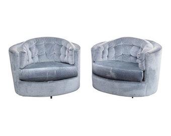 Pair Vintage Mid Century Modern Tufted Swivel Club Chairs ~ Milo Baughman Style