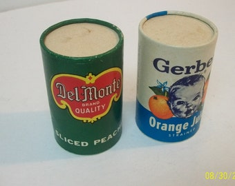 Vintage 1960-70's Gerber Orange Juice and Del Monte Sliced Peaches Collectible Kid's Pretend Play Canned Goods  3' Tall Not Real