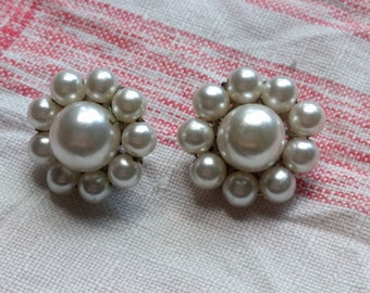 Vintage Pearl Flower Clip On Earrings